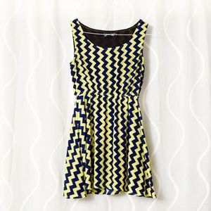 Dresses & Skirts - Whimsical Electric Yellow Chevron Skater Dress